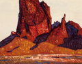 Fine Art - Painting, American:Contemporary   (1950 to present)  , Conrad Buff (American, 1886-1975). Late Afternoon, Agathla Peak,Arizona. Oil on board laid on panel. 18-1/4 x 24 inches...