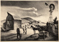 Prints, Thomas Hart Benton (American, 1889-1975). The Corral, 1948. Lithograph on paper. 9-3/4 x 13-3/4 inches (24.8 x 34.9 cm) ...