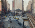 Fine Art - Painting, American:Modern  (1900 1949)  , Alfred S. Mira (American, 1900-1980). View of Herald Square fromthe El, New York, 1936. Oil on canvas. 24 x 30 inches (...