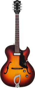 Musical Instruments:Electric Guitars, 1965 Guild T-100 Sunburst Archtop Electric Guitar, Serial # EE-525,Weight: 5.6 lbs....