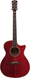 Musical Instruments:Acoustic Guitars, 2000's Sound Port Technologies Deluxe Red Acoustic Guitar....