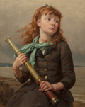 Fine Art - Painting, American:Antique  (Pre 1900), Seymour Joseph Guy (American, 1824-1910). Awaiting the Captain'sArrival. Oil on canvas. 21-1/4 x 16-1/4 inches (54.0 x ...