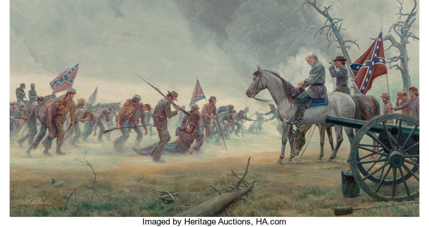 Fine Art - Painting, American:Contemporary   (1950 to present)  , Mort Künstler (American, b. 1931). It's All My Fault, GeneralRobert E. Lee at Gettysburg, 1989. Oil on canvas. 26 x 49 ...