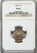 Proof Shield Nickels: , 1874 5C PR64 NGC. NGC Census: (92/136). PCGS Population: (124/132). CDN: $390 Whsle. Bid for problem-free NGC/PCGS PR64. Mi...