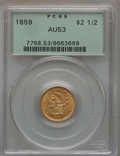 Liberty Quarter Eagles: , 1859 $2 1/2 New Reverse, Type Two, AU53 PCGS. PCGS Population: (7/54). NGC Census: (3/101). Mintage 39,444. ...