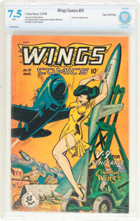 Wings Comics #91 Cape Cod Pedigree (Fiction House, 1948) CBCS VF- 7.5 White pages