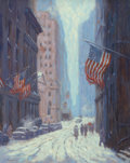 Fine Art - Painting, American:Contemporary   (1950 to present)  , Laurence A. Campbell (American, b. 1939). Winter on Wall Street,from Trinity, 1987. Oil on canvas. 30 x 24 inches (76.2...