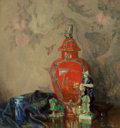 Fine Art - Painting, American:Antique  (Pre 1900), Emil Carlsen (American, 1853-1932). Still Life with Red Urn andAsian Figurines, 1886. Oil on canvas. 29-1/4 x 27-3/4 in...