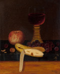 Fine Art - Painting, American:Antique  (Pre 1900), William Michael Harnett (American, 1848-1892). Tabletop StillLife with Fruit and Wine, 1876. Oil on canvas. 12 x 10 inc...