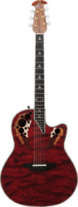 Musical Instruments:Acoustic Guitars, 2010 Ovation Custom Elite CE768-WBX Red Acoustic Guitar, Serial # 523271....