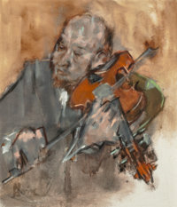 Jack Levine (American, 1915-2010) Viola Player, 1978 Oil on canvas 24 x 21 inches (61.0 x 53.3 cm