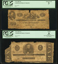 Confederate Notes:1862 Issues, T42 $2 1862 PF-1 Cr. 334. T62 $1 1863 PF-1 Cr .474.. ... (Total: 2notes)