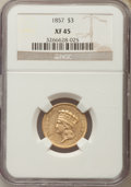 Three Dollar Gold Pieces: , 1857 $3 XF45 NGC. NGC Census: (39/575). PCGS Population: (64/308). Mintage 20,891. ...