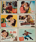 """Movie Posters:Swashbuckler, The Gallant Blade & Other Lot (Columbia, 1948). Title Lobby Cards (2) & Lobby Cards (4) (11"""" X 14""""). Swashbuckler.. ... (Total: 6 Items)"""
