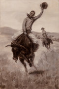 Fine Art - Painting, American:Modern  (1900 1949)  , Elling William Gollings (American, 1878-1932). Riding aBull, 1915. Oil on canvas. 18 x 12 inches (45.7 x 30.5 cm).Sign...