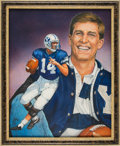 Football Collectibles:Others, 1990 Ty Detmer Heisman Trophy Winner Original Artwork by Ted Watts....