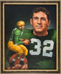 Football Collectibles:Others, 1947 Johnny Lujack Heisman Trophy Winner Original Artwork by Ted Watts....