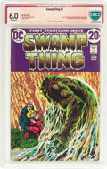 Bronze Age (1970-1979):Horror, Swamp Thing #1 Verified Signature Series (DC, 1972) CBCS FN 6.0Off-white pages....