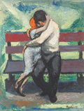 Fine Art - Painting, American:Contemporary   (1950 to present)  , Rosalie Berkowitz (American, 1906-1990). The Lovers, Paris, Spring. Oil on board. 18 x 14 inches (45.7 x 35.6 cm). Signe...
