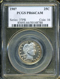 """Proof Barber Quarters: , 1907 25C PR 66 Cameo PCGS. The current Coin Dealer Newsletter (Greysheet) wholesale """"bid"""" price is $2015.00...."""