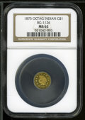 California Fractional Gold: , 1875 $1 Indian Octagonal 1 Dollar, BG-1126, R.5, MS62 NGC. ...