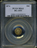 California Fractional Gold: , 1874 50C Indian Round 50 Cents, BG-1055, High R.4, MS63 PCGS. ...