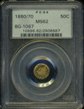 California Fractional Gold: , 1880/70 50C Indian Round 50 Cents, BG-1067, Low R.4, MS62 PCGS. ...