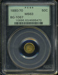 California Fractional Gold: , 1880/70 50C Indian Round 50 Cents, BG-1067, Low R.4, MS63 PCGS. ...