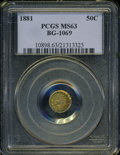 California Fractional Gold: , 1881 50C Indian Round 50 Cents, BG-1069, High R.4, MS63 PCGS. ...