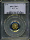 California Fractional Gold: , 1870 $1 Liberty Octagonal 1 Dollar, BG-1107, R.5, MS63 PCGS. ...