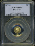 California Fractional Gold: , 1873/2 $1 Indian Octagonal 1 Dollar, BG-1122, High R.6, MS63 PCGS....