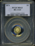 California Fractional Gold: , 1873 $1 Indian Octagonal 1 Dollar, BG-1123, High R.4, MS63 PCGS....