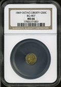 California Fractional Gold: , 1869 50C Liberty Octagonal 50 Cents, BG-907, Low R5, MS66 NGC. ...