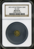 California Fractional Gold: , 1872 50C Indian Octagonal 50 Cents, BG-939, Low R.5, MS65 ProoflikeNGC....
