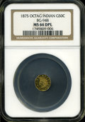 California Fractional Gold: , 1875 50C Indian Octagonal 50 Cents, BG-948, High R.5, MS66 DeepMirror Prooflike NGC....