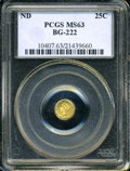 California Fractional Gold: , Undated 25C Liberty Round 25 Cents, BG-222, R.2, MS63 PCGS. ...