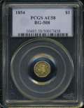 California Fractional Gold: , 1854 $1 Liberty Octagonal 1 Dollar, BG-508, High R.4, AU58 PCGS.PCGS Population (10/32). (#10485)...