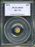 California Fractional Gold: , 1870 25C Liberty Octagonal 25 Cents, BG-713, R.4, MS65 PCGS. ...