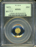 California Fractional Gold: , 1871 25C Liberty Octagonal 25 Cents, BG-717, R.3, MS65 PCGS. ...