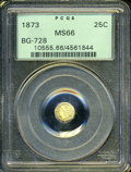 California Fractional Gold: , 1873 25C Liberty Octagonal 25 Cents, BG-728, R.3, MS66 PCGS. ...