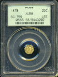 California Fractional Gold: , 1870 25C Liberty Octagonal 25 Cents, BG-759, R.4, AU58 PCGS. ...