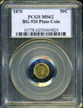 California Fractional Gold: , 1870 50C Liberty Octagonal 50 Cents, BG-920, High R.4, MS62 PCGS....
