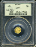 California Fractional Gold: , 1871 50C Liberty Octagonal 50 Cents, BG-923, R.5, MS63 PCGS. ...