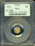 California Fractional Gold: , 1873 50C Liberty Octagonal 50 Cents, BG-928, Low R.6, MS61 PCGS....