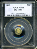 California Fractional Gold: , 1865 50C Liberty Round 50 Cents, BG-1005, Low R.5, MS63 PCGS. ...