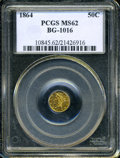 California Fractional Gold: , 1864 50C Liberty Round 50 Cents, BG-1016, R.5, MS62 PCGS. ...