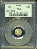 California Fractional Gold: , 1869 50C Liberty Round 50 Cents, BG-1020, Low R.4, MS63 PCGS. ...