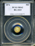 California Fractional Gold: , 1874 50C Liberty Round 50 Cents, BG-1033, R.5, MS62 PCGS. ...