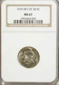Jefferson Nickels: , 1939 5C Reverse of 1938 MS67 NGC. NGC Census: (419/3). PCGSPopulation (24/0). Mintage: 120,627,536. Numismedia Wsl. Price ...