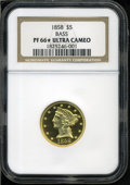 Proof Liberty Half Eagles: , 1858 $5 PR66 Deep Cameo ★ NGC. NGC Census: (2/1). (#98448)...